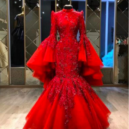 red prom dresses, custom make evening dress, mermaid prom dress, lace prom dress, high neck prom dress, fashion evening dresses, cheap party dresses, arabic prom dresses, sexy formal dresses, new arrival evening dresses, 2021 prom dresses