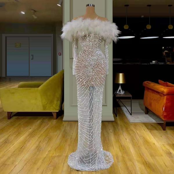 white prom dresses, feather prom dresses, off the shoulder evening dresses, sheath prom dresses, evening dresses, custom make prom dresses, 2021 prom dresses, new arrival evening gowns, sexy formal dress, 2021 white prom dress