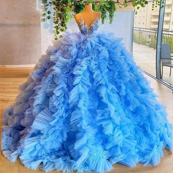 blue prom dresses, 2021 evening dresses, ball gown prom dresses, ruffle prom dresses, tulle evening dresses, 2021 formal dresses, custom make evening dresses, beaded prom dresses, ball gown evening dresses