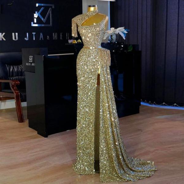Gold Sequined Straight Prom Dresses Cheap High Neck Tassels Sexy High Side Split robe de soirée Party Gowns Long Evening Dress
