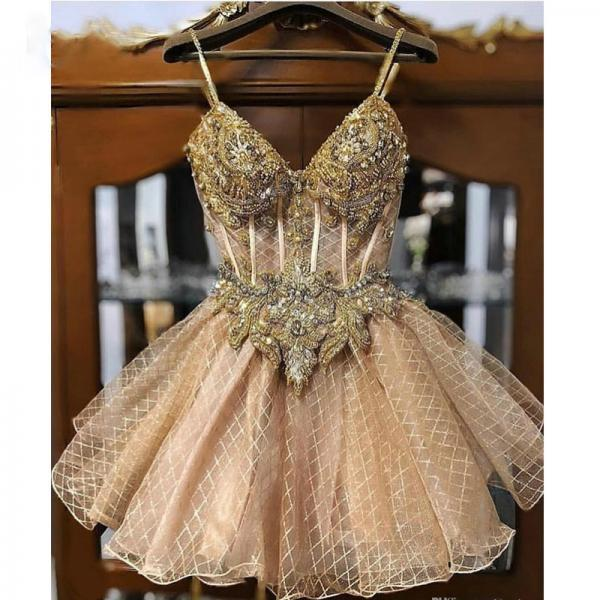 2020 Champagne Beaded Crystals Homecoming Dresses Spaghetti A-line Lace Graduation Dresses Short Sexy Cocktail Party Gowns
