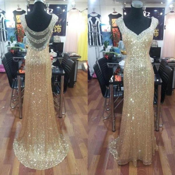 gold prom dresses, v neck prom dresses, sparkly prom dresses, sequins evening dresses, shinning prom dresses, mermaid party dresses, evening dresses, sparkly prom dresses, new arrival prom dresses
