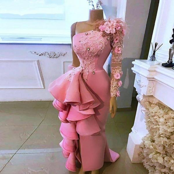 pink prom dresses, long sleeve prom dresses, long sleeve prom dresses, mermaid prom dresses, hand made flowers prom dresses, custom make prom dresses, sexy evening dresses, cheap prom dresses, arabic prom dresses