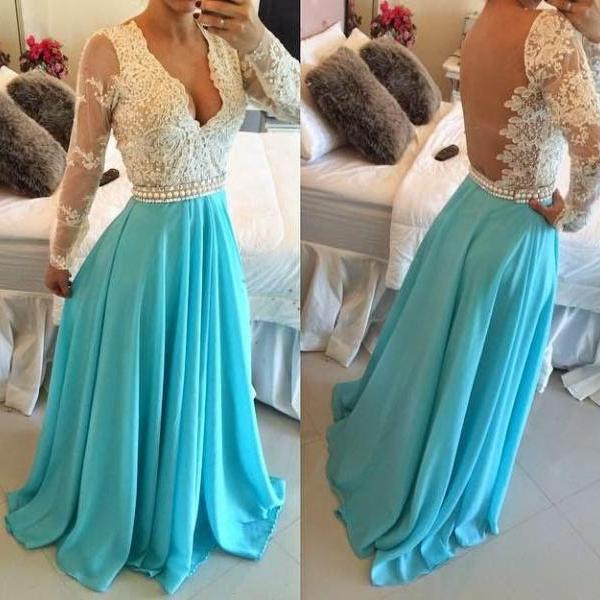 Long Sleeve Prom Dress, Blue Prom Dress, Chiffon Prom Dress, Lace Prom Dress, Elegant Prom Dress, 2016 Prom Dresses, Vestido De Festa, Long Prom Dress, Cheap Formal Dresses