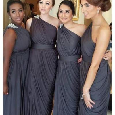 One Shoulder Pleated Ruffled Peals Long Chiffon Gray Cheap Bridesmaid Dresses Wedding Guest Dresses