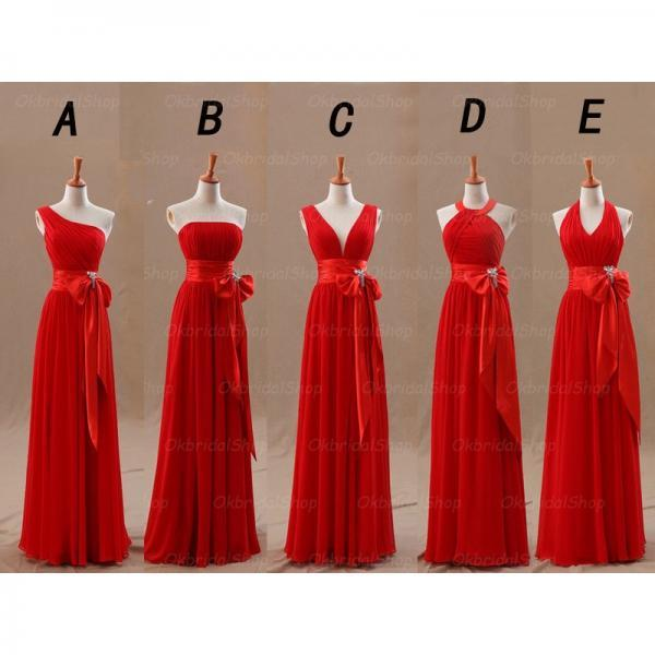 Wedding Party Dresses Mismatched Long Chiffon Red Cheap Custom Simple Bridesmaid Dresses For Weddings