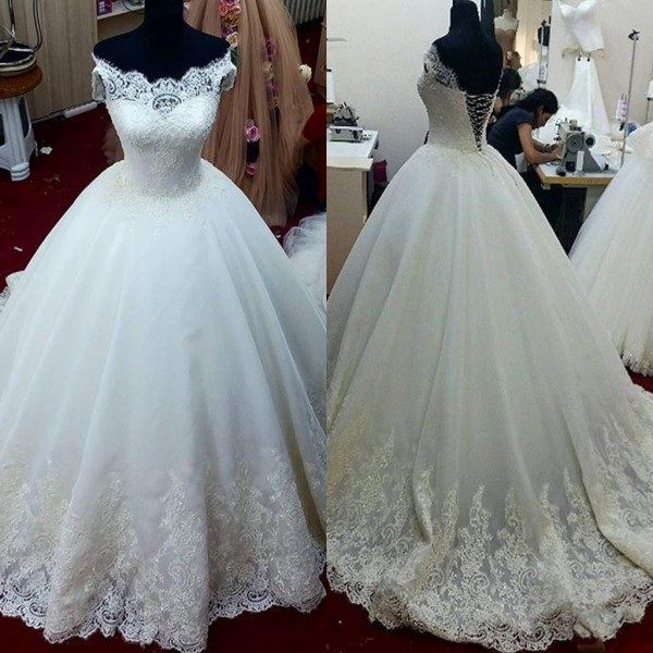 2016 Custom Make Cap Sleeve Lace Beaded Tulle Ivory Elegant Wedding Ball Gowns Cheap Wedding Dress