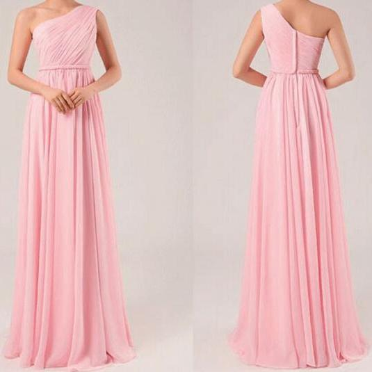 One Shoulder Long Chiffon Pink Elegant Bridesmaid Dresses 2016 Cheap Pleated Bridesmaid Dress For Girls
