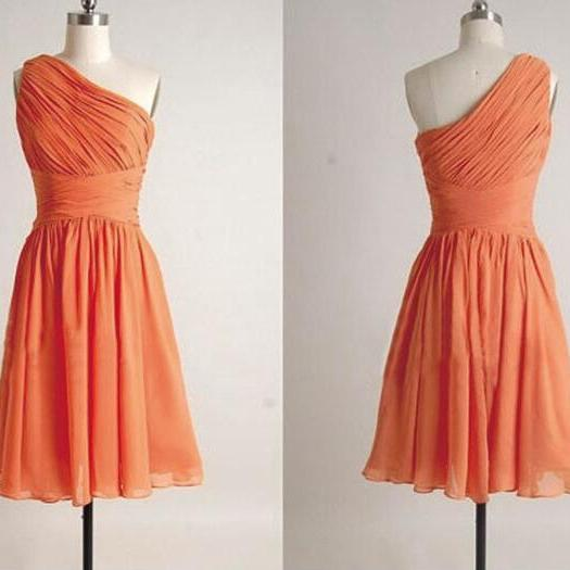 One Shoulder Pleated Knee Length Chiffon Cheap Bridesmaid Dress 2016 Orange Junior Bridesmaid Dresses For Women