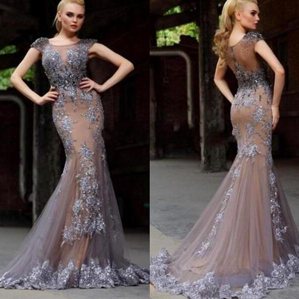 Cap Sleeve Gray Lace Applique Tulle Evening Dress Beaded Long Mermaid Formal Dresses 2016 Vestido De Festa