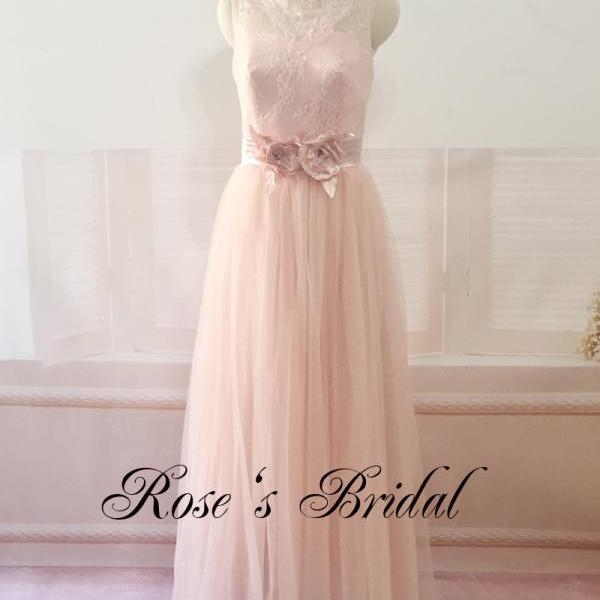 Pale Pink Lace Bridesmaid Dresses 2017 Wedding Party Dresses Off Shoulder Long Tulle Bridesmaid Dress