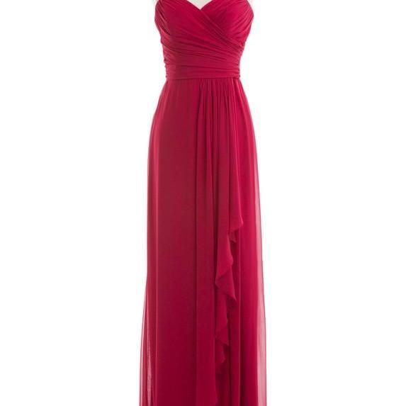 Wine Red Colored Long Bridesmaid Dresses Chiffon Cheap Burgundy Sweetheart Neckline Party Dresses For Weddings