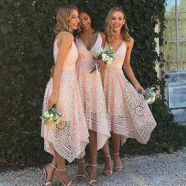 Pink Bridesmaid Dress, Long Bridesmaid Dress, Cheap Bridesmaid Dress, Bridesmaid Dresses 2017, Lace Bridesmaid Dress, Wedding Party Dresses, Elegant Bridesmaid Dress