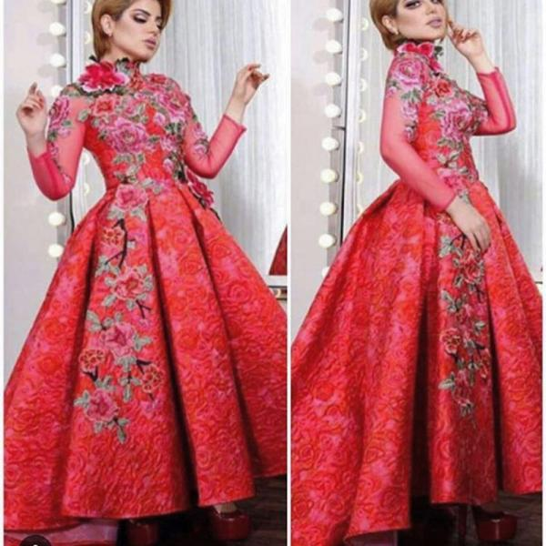 Red Prom Dresses, A Line Prom Dresses, High Neck Prom Dresses, Long Sleeve Prom Dresses, Pleats Prom Dresses, Lace Prom Dresses, Red Evening Gowns, Lace Party Dresses, 2017 Special Occasion Dresses, Newest Formal Dresses, Red Evening Gowns, Cheap Formal Dresses, 2017 Lace Evening Gowns, Flowers Evening Dresses, Lace Party Dresses, 2017 Special Occasion Dresses, Formal Dresses Arabic,