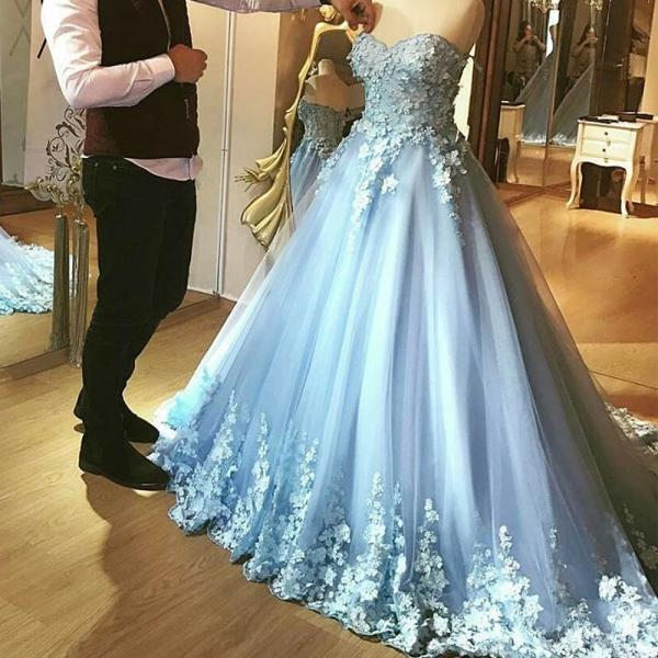 Light Blue Prom Dresses, Sweetheart Prom Dresses, Lace Appliques Prom Dress, A Line Prom Dresses, Tulle Prom Dress, Sky Blue Evening Dresses, Sweetheart Formal Dresses, Ball Gown Prom Dresses, Backless Special Occasion Dresses