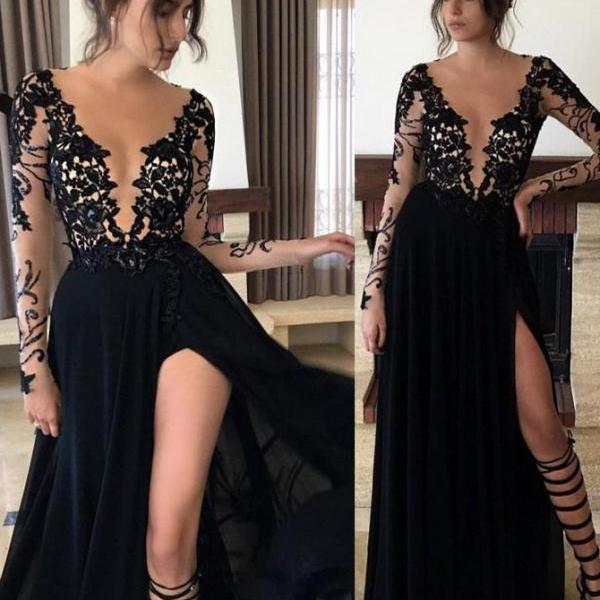 Lace Evening dresses, Chiffon Evening Gowns, 2017 Black Prom Dresses, High Split Prom Dresses, Long Sleeve Prom Dress, Fashion Evening Gowns, Black Prom Dresses, Elegant Evening Dress, Lace Formal Dresses, Women Evening Gowns