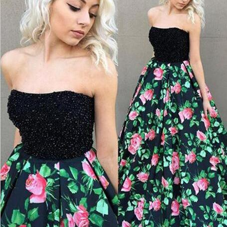 Print Prom Dresses, Print Flowers Prom Dresses, Print Flowers Beading Prom Dress, Black Evening Dresses, Backless Evening Gowns, New Arrival Formal Dresses. Print Evening Dresses, Flowers Evening Gowns, Sexy Prom Dresses, 2017 New Arrival Party Dresses