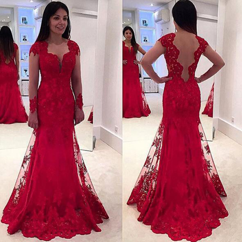 A Line Prom Dress Lace Dresses Red Cap Sleeve Elegant 2017 Formal